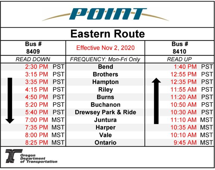 Eastern POINT Schedule-Effective 11/2/20